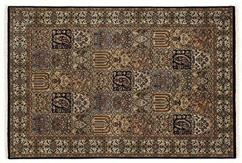 ROSHAN GHOM echter klassischer Orient-Felder-Teppich handgeknüpft in blau-beige, Größe: 60x90 cm -