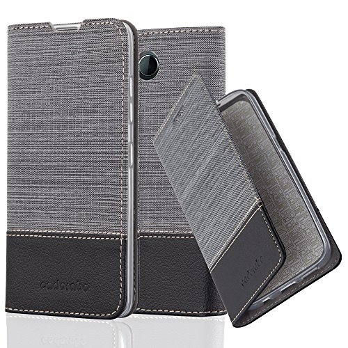 Preisvergleich Produktbild Cadorabo Hülle für Nokia Lumia 650 - Hülle in GRAU SCHWARZ – Handyhülle mit Standfunktion und Kartenfach im Stoff Design - Case Cover Schutzhülle Etui Tasche Book
