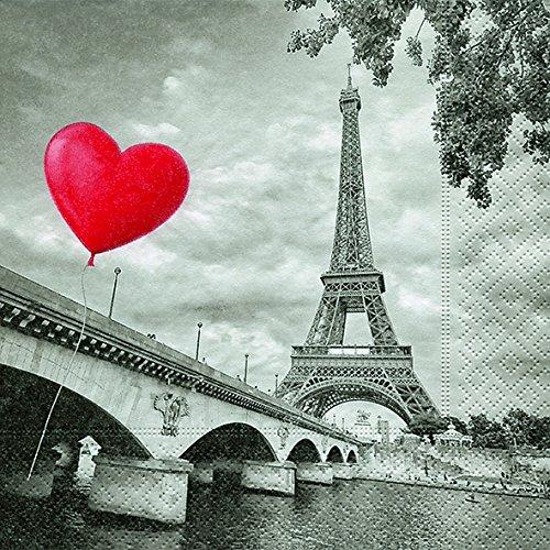 40 Lunch Servietten Stadt der Liebe - Paris (City of love)1/4 gefalzt, 3-lagig Größe offen: 33x33