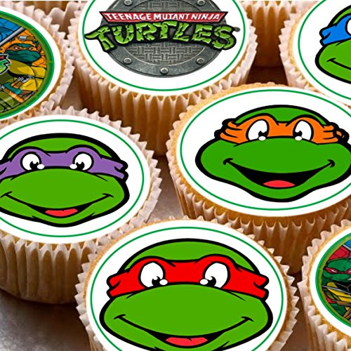 24 TMNT Teenage Mutant ninja Turtles mixed images Cake Toppers 4cm On wafer rice paper by Print4you