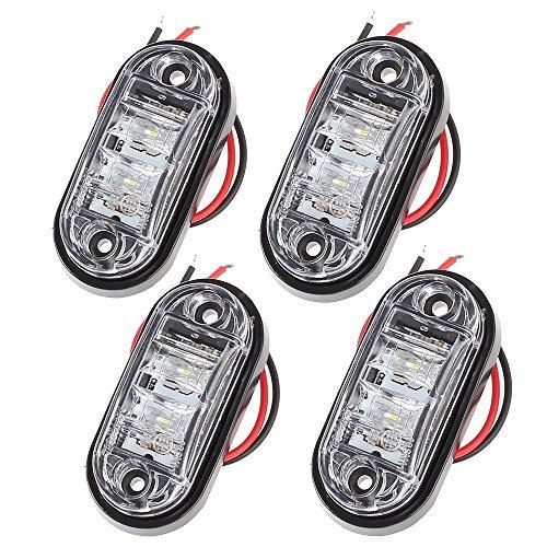 Preisvergleich Produktbild Kamtop 4PCS LED Vorderseite Markierungsleuchten 12V 24V LKW Anhänger Anzeigelampe weiß für Auto LKW Anhänger Indikator