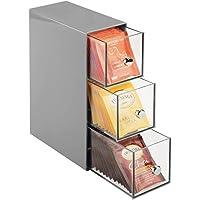 mDesign boite de rangement cuisine avec 3 tiroirs – casier de rangement pour sachets de thé, tisane, infusion, dosette…