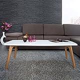 CAGÜ - Retro Lounge COUCHTISCH [GÖTEBORG] Weiss-Eiche RECHTECK 110cm x 50cm im SKANDINAVISCHEN Stil