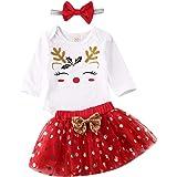 Vestiti della neonata di Natale Il Mio Primo Pagliaccetto di Natale + Tutu Shirt + Fascia 3 Pezzi Set Completo 0-24M