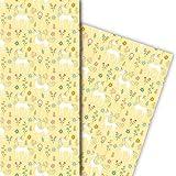 zauberhaftes Kinder Geschenkpapier mit Einhorn, gelb, für tolle Geschenk Verpackung und Überraschungen (4 Bogen, 32 x 48cm)