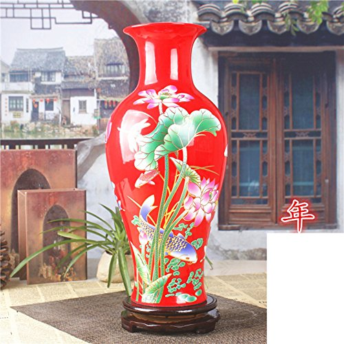 Fashion Creative Chinese Red Ceramic Vase/ Flower Decoration Crafts Ornaments-c