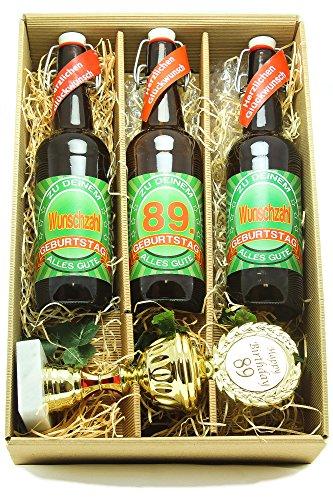 Bier Geschenk Präsentkarton mit Bier und Pokal 89. Geburtstag