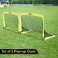 PodiuMax 2er Set Faltbar Pop Up Fußballtor mit 10 x Hütchen, 8 x Bodenanker, Schnell Aufzustellen,Tragbar und Stabil