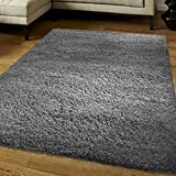 """FunkyBuys® Shaggy Rug Plain 5cm Thick Soft Pile Modern 100% Berclon Twist Fibre Non-Shed Polyproylene Heat Set - AVAILABLE IN 6 SIZES Best Quality On Amazon (Grey, 120cm x 170cm (4ft x 5ft 6""""))"""