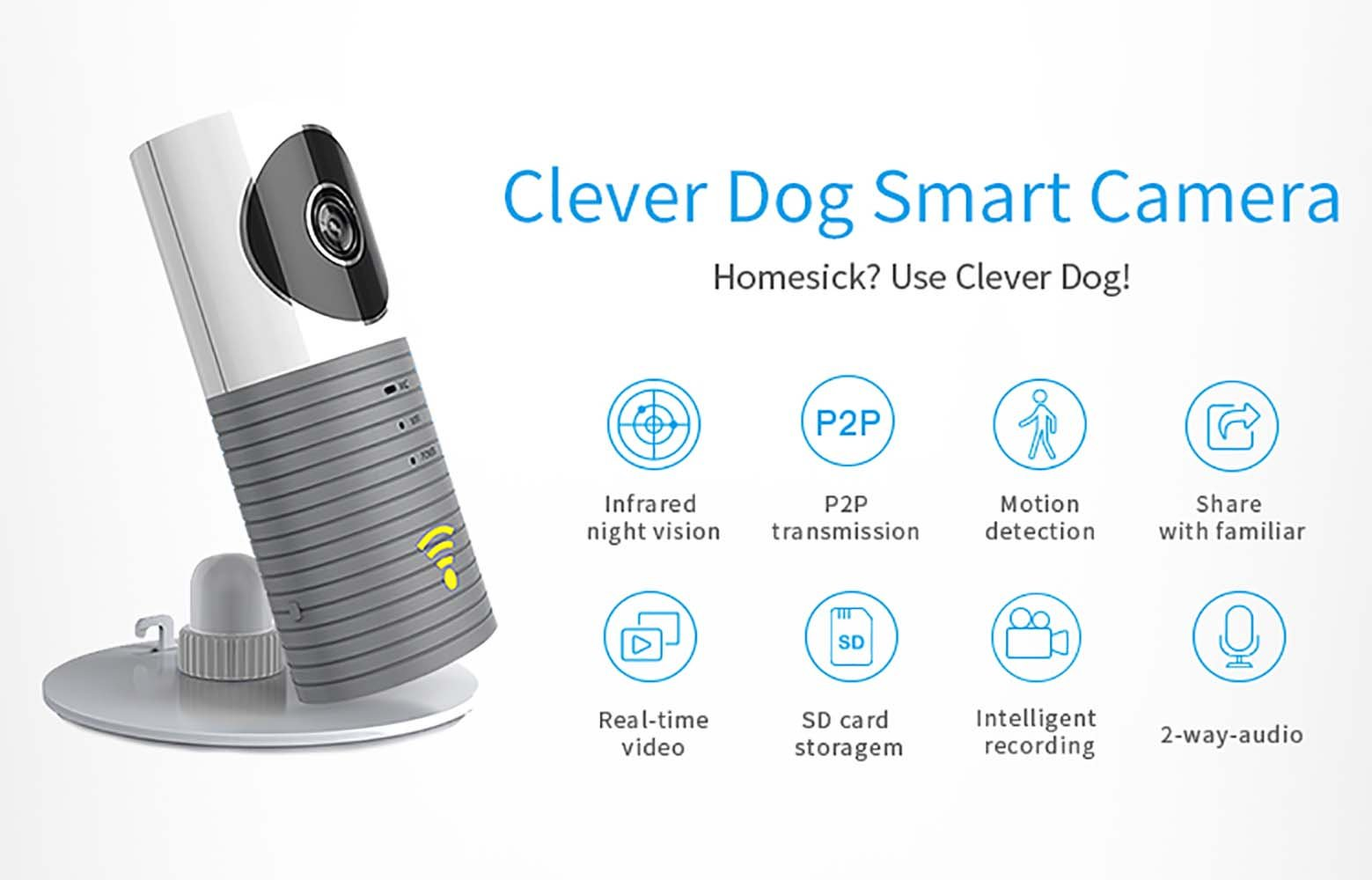 Clever dog Wireless security wifi cameras Smart Surveillance camera(Grey) Clerver dog Wireless Baby Monitor: Video, audio, alerts on smart phone and tablets, it will help you stay connected with what you love, no matter where you are via WiFi, 3G or 4G network IP camera,use your own 5V wall charger(Not included), No battery inside Support Micro SD card, up to 32GB (not included), Best motion detection distant is 4 meter to 6 meter 2