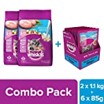 Whiskas Kitten Combo Dry Cat Food, Ocean Fish, 1 kg (Pack of 2)with Wet Cat Food, Tuna in Jelly, 85 g