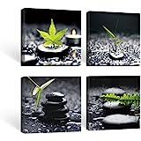 SUMGAR Lot de 4 Impressions sur Toile pour Salle de Bain Cadre Noir et Feuilles Vertes Œuvre Zen 30 x 30 cm x 4 pièces