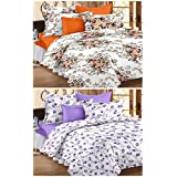 Story@Home Premium Magic Combo 152 TC 2 Pieces Bedsheets with 4 Pillow Covers - White, Brown