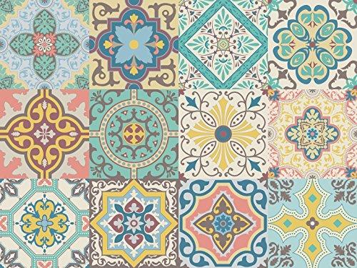 Vinilo decorativo cuadrado autoadhesivo removible para pared pegatinas con diseño de azulejos portugueses de fácil aplicación para baño, cocina y decoración colección Belem, set de 12 (15x15cm c/u)