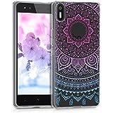 kwmobile Funda para Aquaris X5 bq - Case de cristal para móvil en TPU silicona - Cover trasero de cristal Diseño sol indio azul rosa fucsia transparente