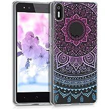 kwmobile Funda para bq Aquaris X5 - Case para móvil en TPU silicona - Cover trasero Diseño sol indio en azul rosa fucsia transparente