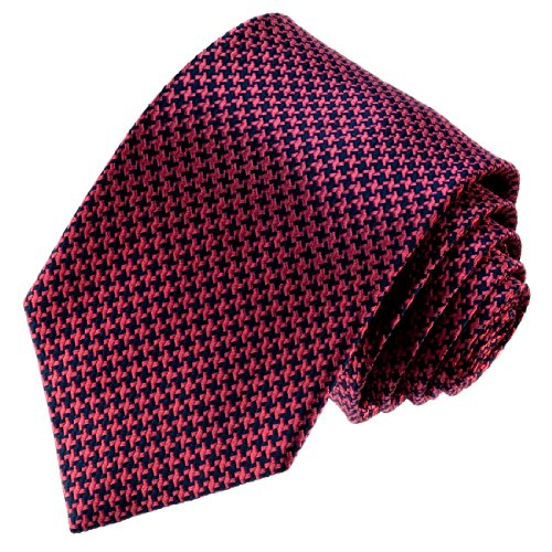 LORENZO CANA - rot dunkelblau Krawatte aus 100% Seide Hahnentritt Muster - 84496