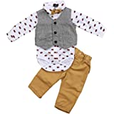 Conjunto de 3 piezas para bebé Gentleman Suit con impresión de manga larga con corbata de mariposa + panzúas + pantalones lar