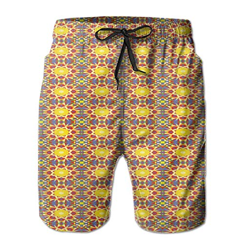 MIOMIOK Men Swim Trunks Beach Shorts,Oriental Sun Inside A Flower Arabic Culture Inspired Motifs Leaves and Petals,Quick Dry 3D Printed Drawstring Casual Summer Surfing Board Shorts L -