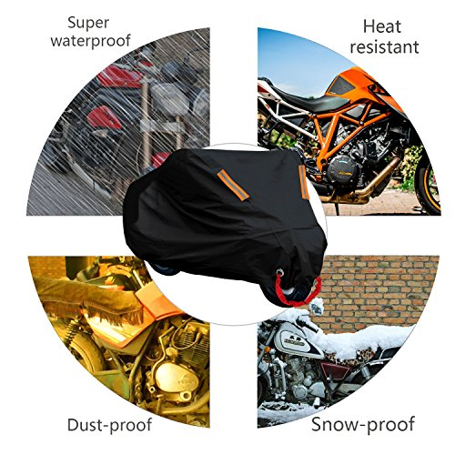 4ea73953f10 WisFox Funda Moto 190T Cubierta Impermeable de Motocicleta Protector  Cubierta Poliester revestido.