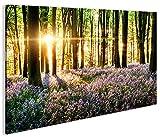 islandburner Bild Bilder auf Leinwand Lavendel im Wald 1p XXL Poster Leinwandbild Wandbild Dekoartikel Wohnzimmer Marke