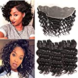 MORICHY Hair Brazilian Deep Wave 3 Bundles with Lace Frontal Closure Short Human Hair with Frontal Unprocessed Virgin Brazilian Hair with Frontal Closure 50g/pc Full Head Natural Color