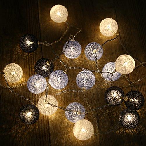 LED Llichterkette mit Kugeln aus Baumwolle, 20 Stücke dunkelblau& himmelblau& weiß Kugeln warmweiß