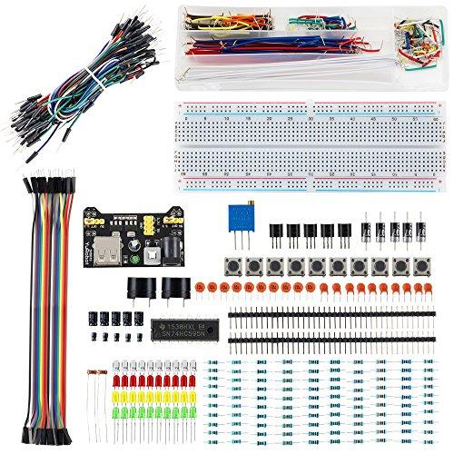 LUWANZ Starter Set mit Breadboard für Arduino, 374tlg. Starter Kit für Raspberry Pi, Arduino UNO R3, MEGA2560, NANO, elektronik Bausatz mit Stromversorgungsmodul, lötfreie Jumperkabel, Potentiometer, etc