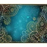 decomonkey Fototapete Ornament 250x175 cm XL Tapete Fototapeten Vlies Tapeten Vliestapete Wandtapete moderne Wandbild Wand Schlafzimmer Wohnzimmer Orient Muster gold blau FOA0093a5XL