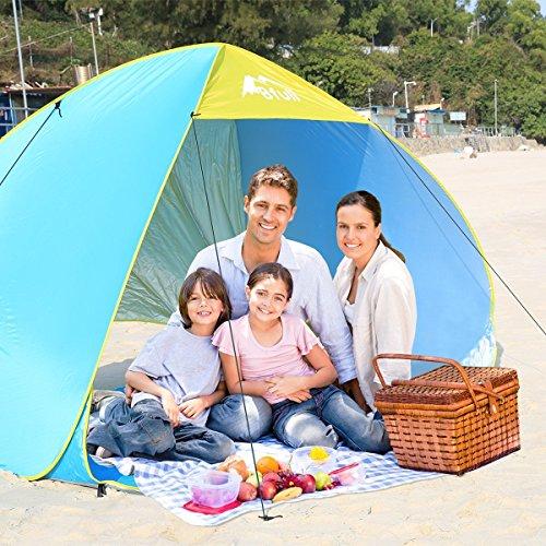 BFULL [Großes Zelt XXL für 1-4 Personen] Strandmuschel Pop up Zelt 230cm x 175cm x 145cm Familie Tragbares Strand-Zelt mit LSF50+ - Strand Zelt Sonne