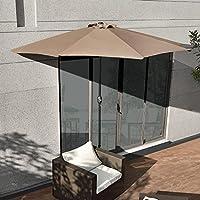 Sombrilla de media pantalla con manivela color arena Ø300cm para jardín, terraza