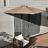 [casa.pro]® Sonnenschirm mit Kurbel beige halbrund creme Ø300cm groß Balkon Garten