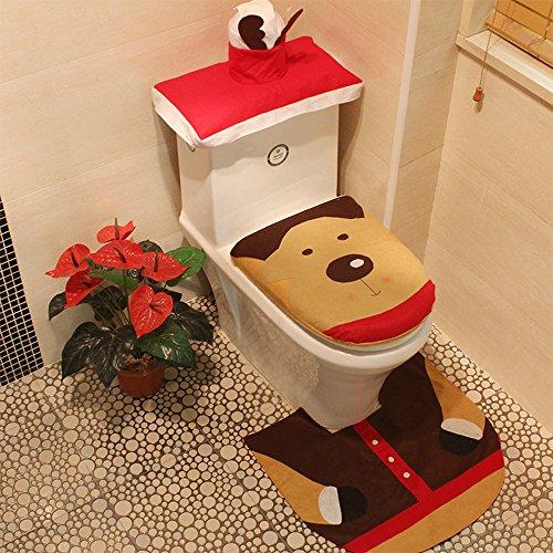 GZMAY Weihnachtsdekoration 3Santa WC-Sitz Cover Teppich Set Badezimmer Dekoration Geschenke Color 3