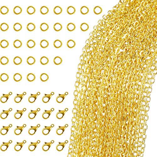 TecUnite 33 Fuß Gold Überzogene Gliederkette Halskette mit 30 Jump Rings und 20 Karabiner für Schmuck DIY Herstellung (1,5 mm) (Jump-ring-schmuck)