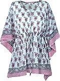 Guru-Shop Hippie Poncho, Kaftan, Tunika, Poncho Bluse, Damen, Weiß/rosa, Baumwolle, Size:One Size, Blusen & Tunikas Alternative Bekleidung