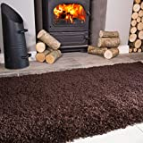 Ontario Brown Fireside Fireplace Mantelpiece Hearth Shaggy Shag Fluffy Living Room Area Rug