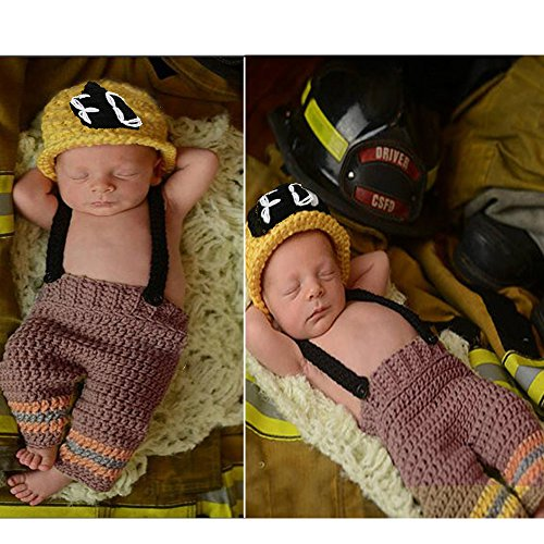 Sunfire Baby Girl Boy Kleidung Crochet Knit Kostüm Foto Fotografie Prop Set Feuerwehr (Halloween Baby-girl-kostüm Für)