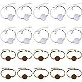 Braccialetto rigido con lunetta vuota rotonda per cabochon, regolabile, per lavori creativi e realizzazione di gioielli 20 pe