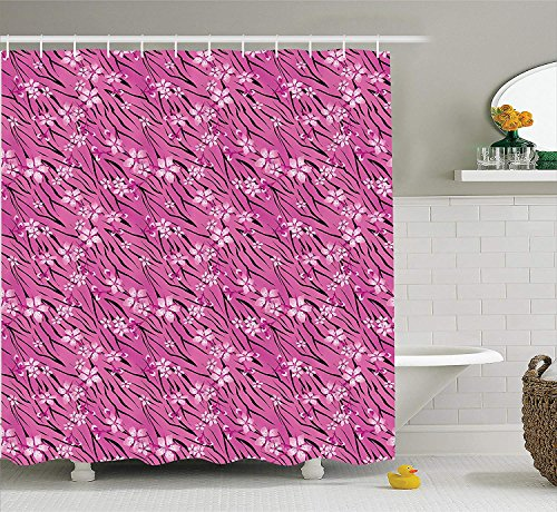 tgyew Animal Print Collection, Rose Flowers on Striped Tiger Skin Pattern Background Floral Design Illustration, Polyester Fabric Bathroom Shower Curtain Set with Hooks, Pink Black Ivory Floral Swag