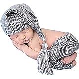 Ropa de color gris, recién nacido bebé niña/niño ganchillo Costume Foto Fotografía Prop sombreros trajes