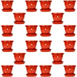 Kraft Seeds Gate Garden! 8 Inch Heavy Duty Plastic Planter Flower Pots with Bottom Tray (Set of 20) Pots with Red Bottom Plat