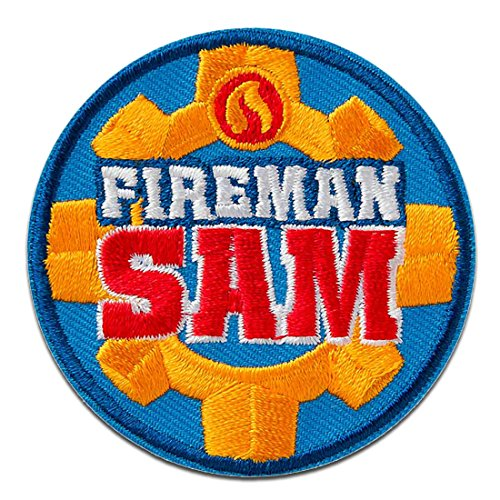 feuerwehrmann sam aufnaeher Aufnäher/Bügelbild - Feuerwehrmann Sam Logo - blau - Ø5,9cm - © Prism Art & Design Limited Patch Aufbügler Applikationen zum aufbügeln Applikation Patches Flicken