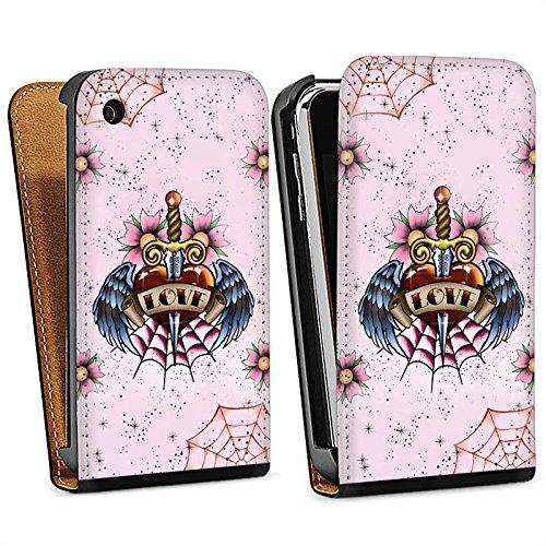 Apple iPhone 5s Housse Étui Protection Coque C½ur Ailes Épée Sac Downflip noir
