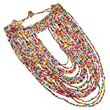 Jeroolin Damen 22 Schichte handgemachte bunte Perlen Kette bib necklace Halskette