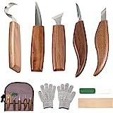 10Pcs Outils Sculpture sur Bois en Acier Carbone Ensemble d'outils de Sculpture sur Bois avec Couteau à Crochet Couteau à Déc