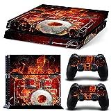 Sony PS4 Playstation 4 Skin Design Foils Aufkleber Schutzfolie Set - Fire Drums Motiv