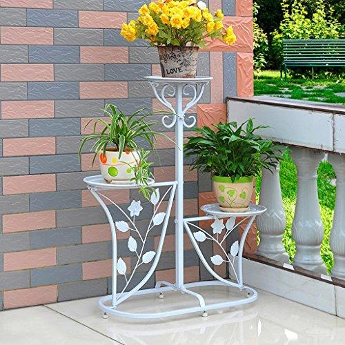 Escalier en fleurs de fer Porte-pot à fleurs Salon extérieur Balcon Porte-fleurs (60 * 29 * 71cm) (Couleur : Blanc)