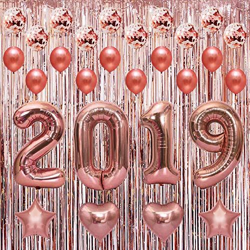 Deko Abschlussfeier 2019, Partei Dekorationen 2019 Rosa gold Deko+Lametta Vorhänge Metallic Fringe, Luftballons Party Dekoration für Jubiläum,Graduierung,Geburtstag, Hochzeit,Universität Event (Vorhang Gold Fringe Metallic)