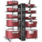 X-cosrack Étagère à casseroles, 10 niveaux de hauteur réglable avec pieds antidérapants, 6 dispositions, extensible - pour cu
