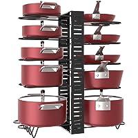 X-cosrack Étagère à casseroles, 10 niveaux de hauteur réglable avec pieds antidérapants, 6 dispositions, extensible…